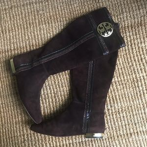 Tory Burch Suede Boots with Gold Hardware